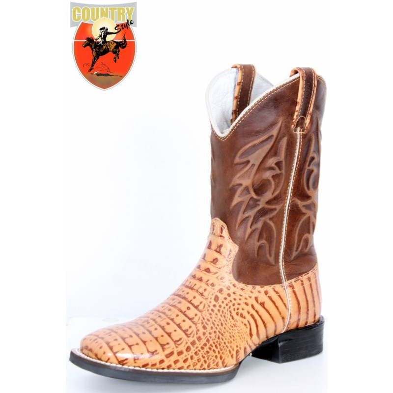 BOTA MASCULINA TEXANA WEST COUNTRY REPLICA JACARE - MARROM 81167 e7629858573
