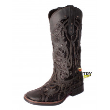 BOTA TEXANA WEST- PRETO FOSCO